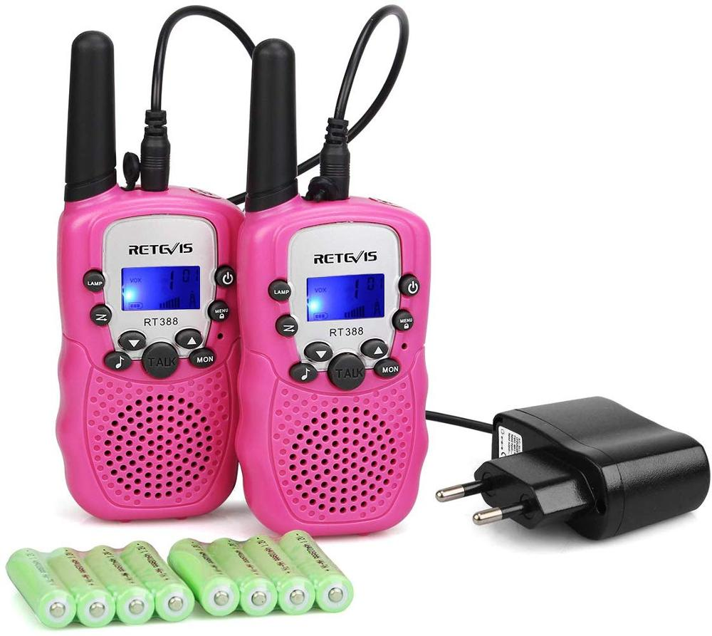 2pcs PC Material Pink Retevis RT388 Children Walkie-Talkie 0.5W 8/22CH Portable Amateur Radio Flashlight & Rechargeable Battery