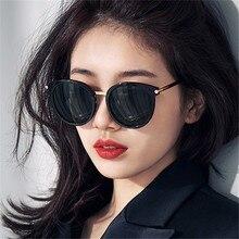 LONSY Retro Metal Black Round Women Sunglasses Coating Luxur