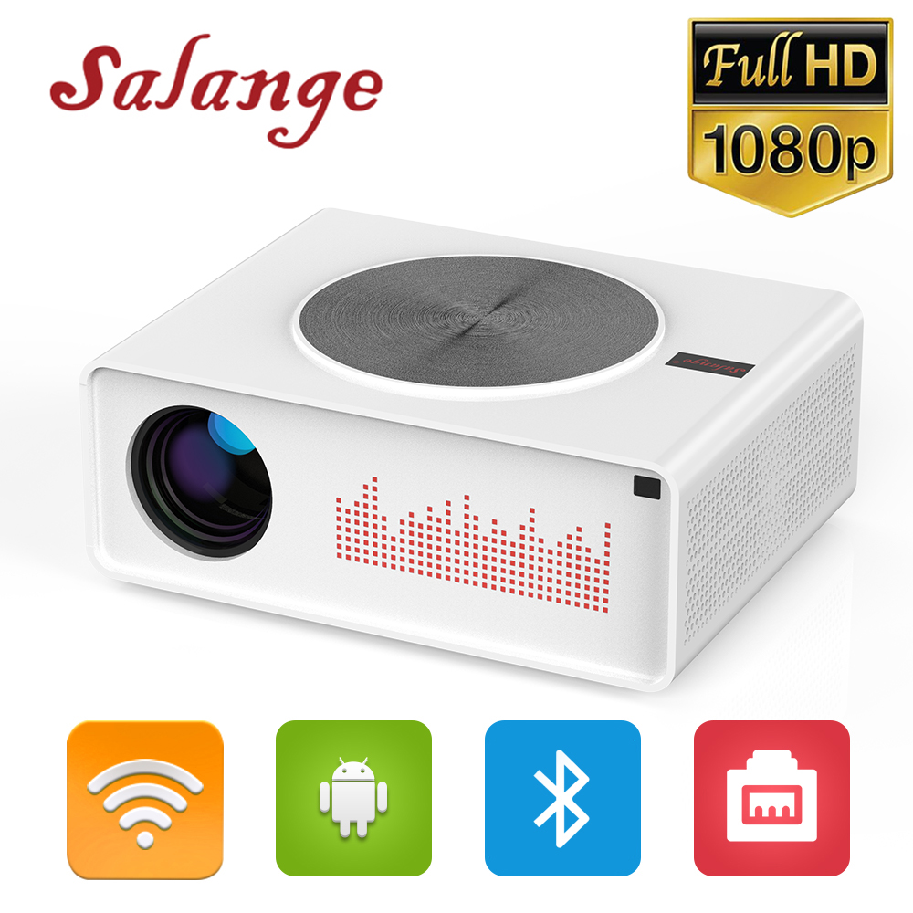 Salange Projecteur Full HD 1080P, natif 1920x1080 Android 8.0 LED vidéoprojecteur Home cinéma prise en charge 4K Bluetooth 5G WIFI HDMI
