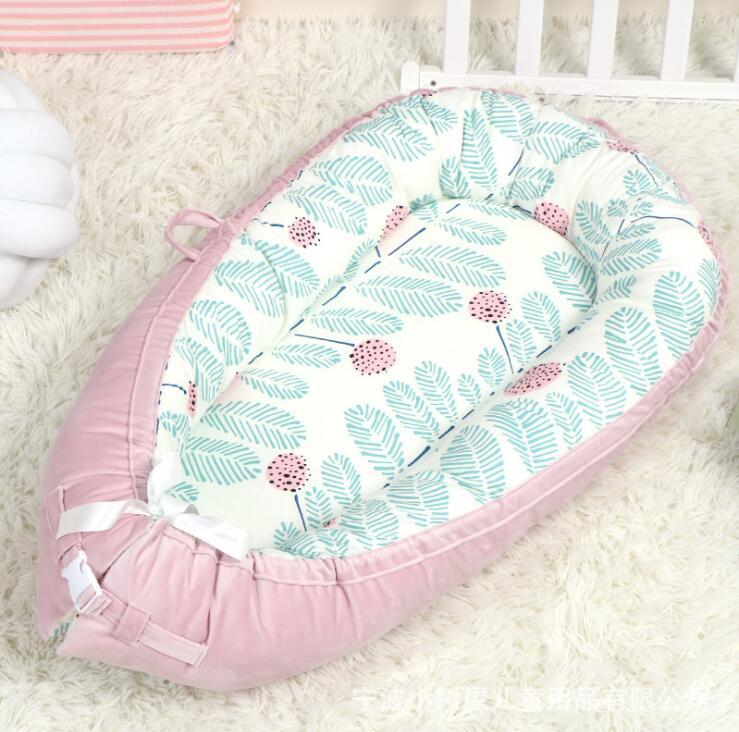 Переносная детская кроватка для путешествий, детская корзина для сна, хлопковое гнездо для новорожденных, многофункциональная Съемная кровать для кормления, BTN032 - Цвет: BTN032A-pink