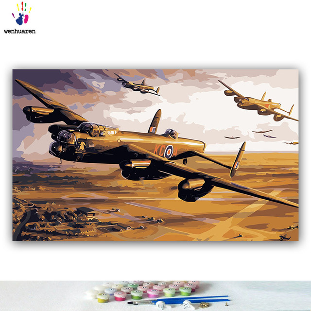 Lancaster Bomber Painting By Numbers Kit Military Air Force WW2