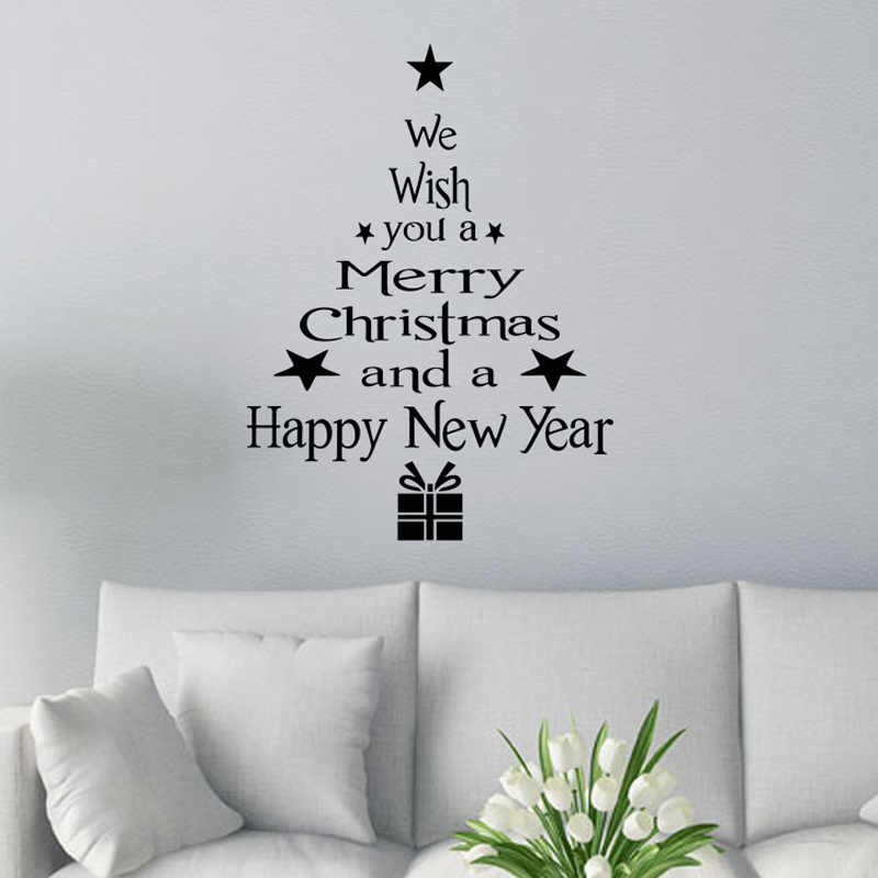 1 Uds. Feliz árbol de Navidad muñeco de nieve Navidad Año Nuevo tienda ventana pegatina de pared blanco rojo decoración navideña de copos de nieve fiesta