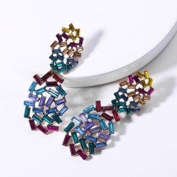 KMVEXO Colorful Crystal Drop Earrings Women Round Geometric Pendant Dangle Earrings Indian Bridal Statement Jewelry Party Bijoux 15