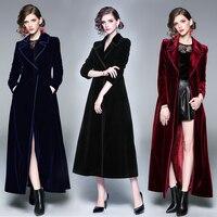 Женская бархатная темно-синяя черная винно-красная Длинная ветровка, Женское пальто, женское манто