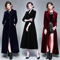 Women's Velvet Navy Blue Black Wine Red Long Windbreaker Jacket Female Coat Women Manteau Femme