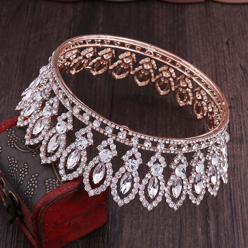 Image 5 - High Fashion Full Round Baroque Gold Blue Crystal Royal Princess Queen Diadem Tiaras Crowns for Bridal Bride Wedding PartyHair Jewelry   -