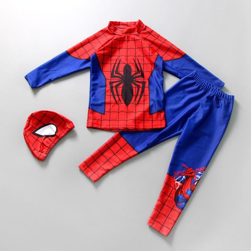 Spider-Man Split Type Swimwear Big Virgin Boy Item Long Sleeve Pants Sun Blocking Quick-Dry Children BOY'S Swimsuit