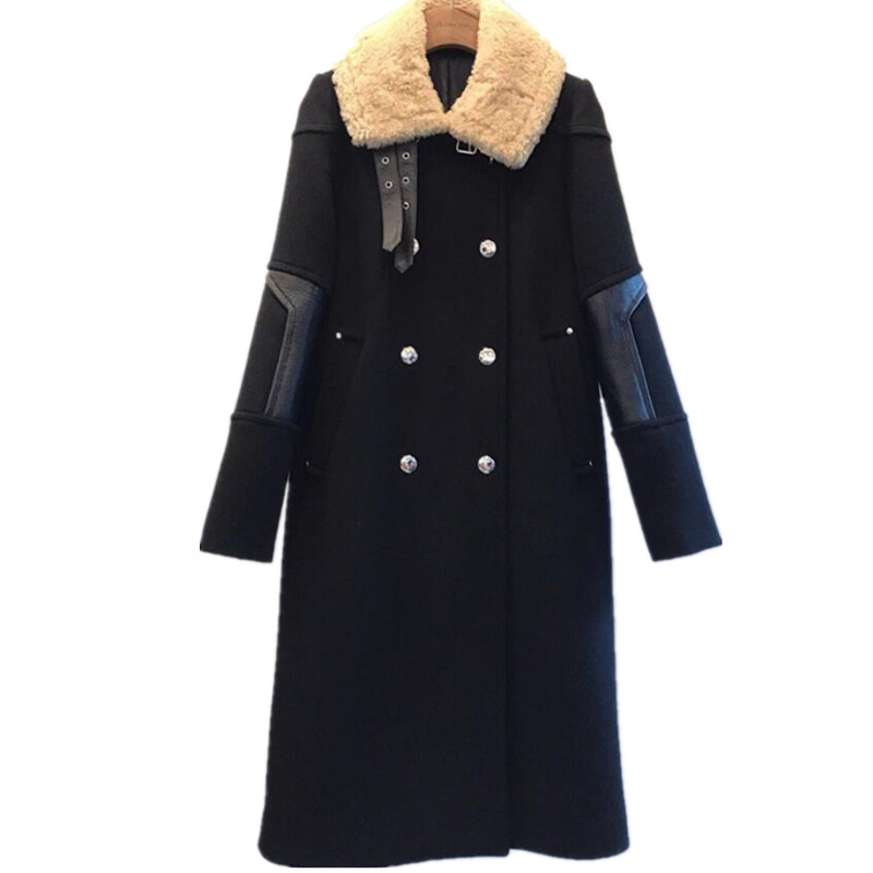 2019 winter new fashion lamb hair stitching woolen coat women long double breasted straight thick wool coat