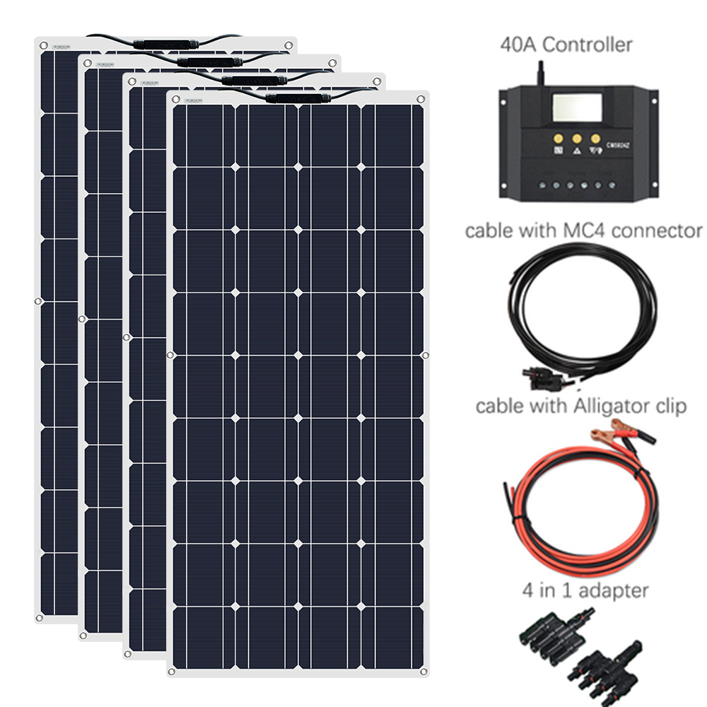 XINPUGUANG 400W system 1175*540mm 18V 100W Flexible <font><b>Solar</b></font> <font><b>Panel</b></font> 40A Controller Car/Yacht/Steamship 12V 24 Volt <font><b>100</b></font> <font><b>Watt</b></font> Battery image