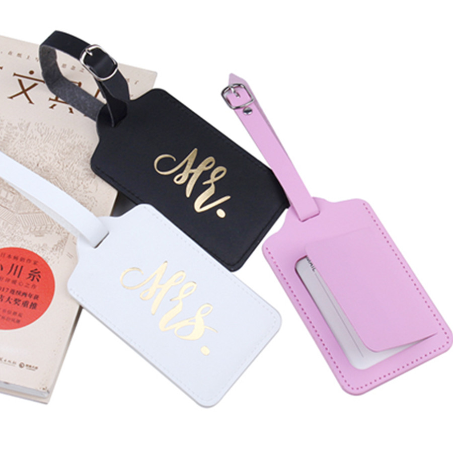 Mr&Mrs Hot Stamping Suitcase Luggage Tag Bag Pendant Travel Accessories Name ID Address Wedding VIP Invitation Label LT37B