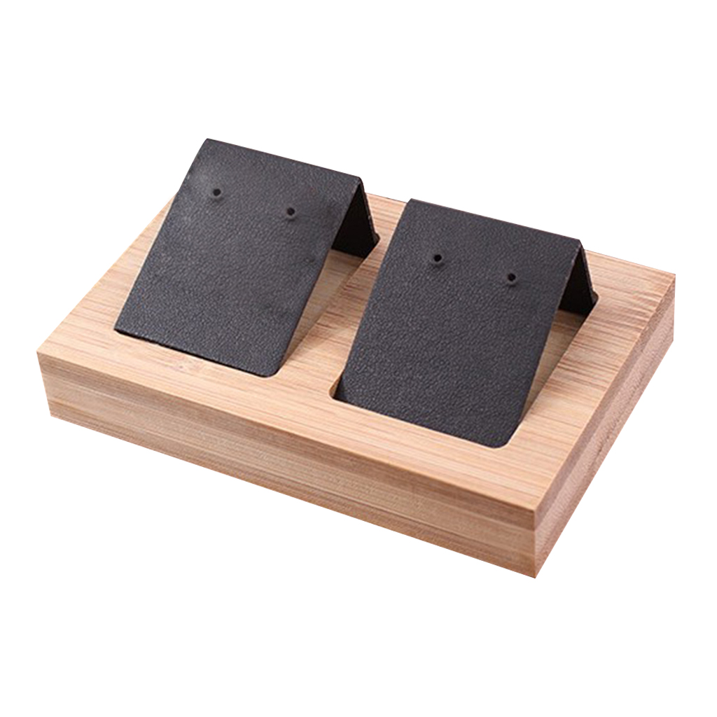 2 Pair Earring Cards, Velvet/Leatherette Bamboo Earrings Display Card Holder For Jewelry Accessory Display, 3 Colors