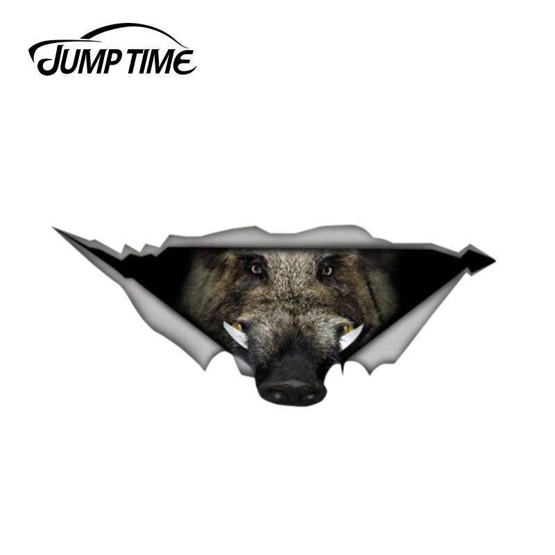 Jump Time 13cm X 5.4cm Wild Boar Car Decal 3D Pet Graphic Vinyl Decal Car Window Bumper Car Stickers