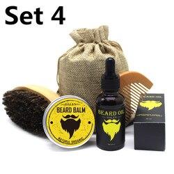 BellyLady 5 unids/set Kit de aceite de barba crema de bigote para hombre con peine para el bigote bolsa de almacenamiento