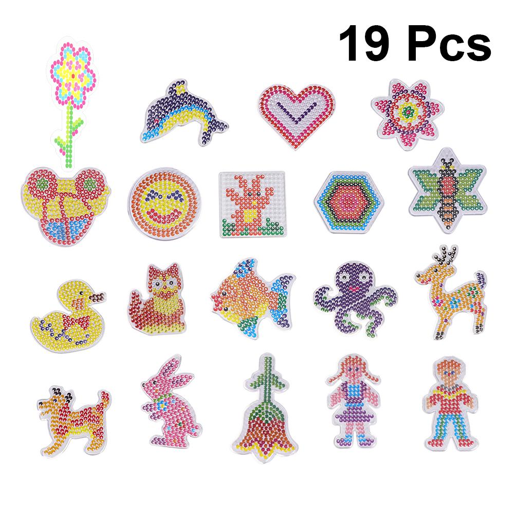 19pcs 5mm Hama Beads For Kids Craft Fuse Beads 3D Puzzle Pegboards Patterns DIY Template Learning Toys For Children