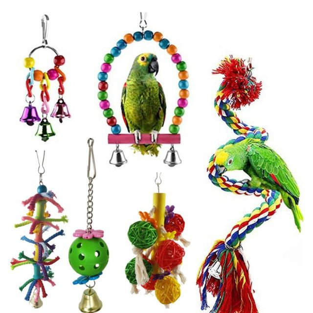 6 Pcs/set Pet Birds Swing Toys Parrots Chewing Hanging Perches Bells Small Parakeets Parrot Cage Bite Climbing Rope Toy