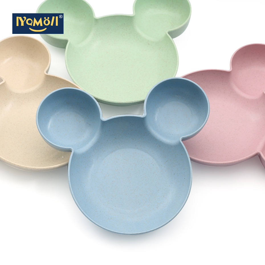 Kitchen Creative Tableware Mickey Bowl Food Container Fruit Wheat Straw Bowl For Children Kids Salad Soup Rice Noodles Plate