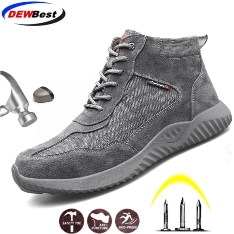 DEWBEST Work-Sneakers Safety-Shoes Wear-Resisting Lightweight Steel Toe Anti-Smashing title=