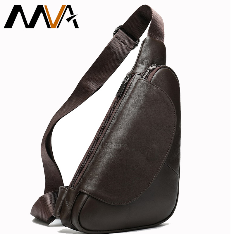 MVA Genuine Leather Men's Shoulder Messenger Bag Male Chest Bag Small Crossbody Bags For Men Chest Pack Leather Mens Sling Bags