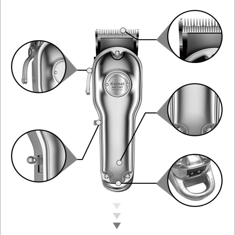 Image 2 - Kemei 1987 Professional Electric All Metal Hair Clipper Powerful Cordless Hair Trimmer Men Silver Gold Haircut Machine Barber-in Hair Trimmers from Home Appliances
