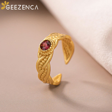Trendy 925 Sterling Silver Gold Plated Natural Red Tourmaline Women's Rings Fine Jewelry Gemstone Woven Open Ring Wedding Gift