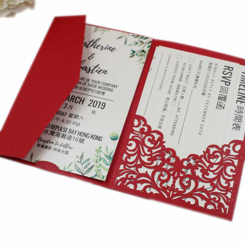 free shipping 2pcs Vine tri fold wedding invitation cards with envelope , insert, RSVP 3 fold laser cut pocket fold cards| | - AliExpress
