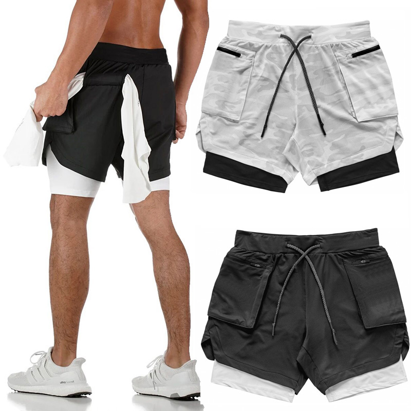 Fitness Gym Shorts 2 In 1 Running Shorts Men Summer Gym Sportwear Sport Running Workout Shorts Training Men Joggers With Pocket