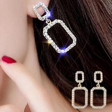 купить 2019 NEW Fashion Party Women Earrings Double Hollow Square Rhinestone Faux Pearl Inlaid Stud Earrings Woman's accesories Earring дешево
