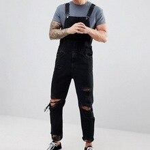 Мужские длинные джинсы, комбинезон, цельные джинсы, комбинезон, черный, Повседневный, рваные, прямые, кнопка подтяжек, ремень, джинсы, Pantalon Homme