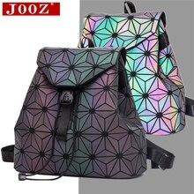 JOOZ mochila de diseño geométrico para mujer, morral escolar luminoso para chicas adolescentes, mochila holográfica