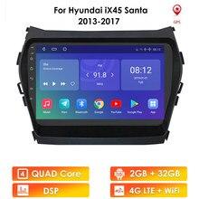 Автомагнитола 9 дюймов на Android для Hyundai IX45 Santafe 2013 - 2015 2017, автомобильный мультимедийный плеер 2 Din, GPS-навигация, стерео