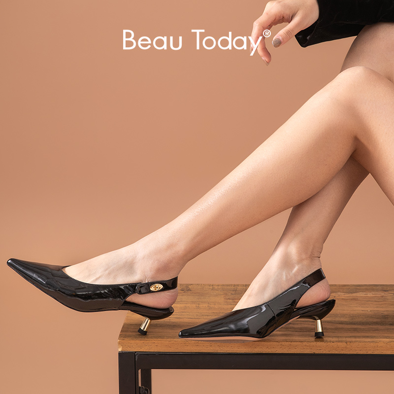 BeauToday Pumps Women Patent Leather Sandals Buckle Strap Pointed Toe Mid Heel Ladies Fashion Summer Shoes Handmade 31077