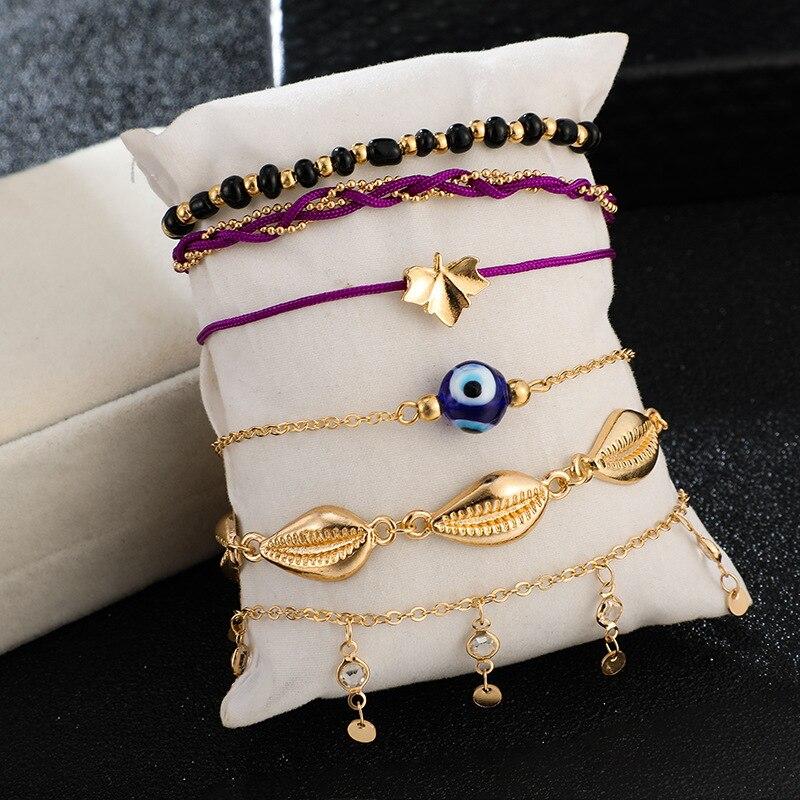 Bohemian Ankle Bracelets Set Multilayer Evil Eye Shell Beads Charm Chain Knitted Bracelets Women Anklet Foot Jewelry Gift 6Pcs