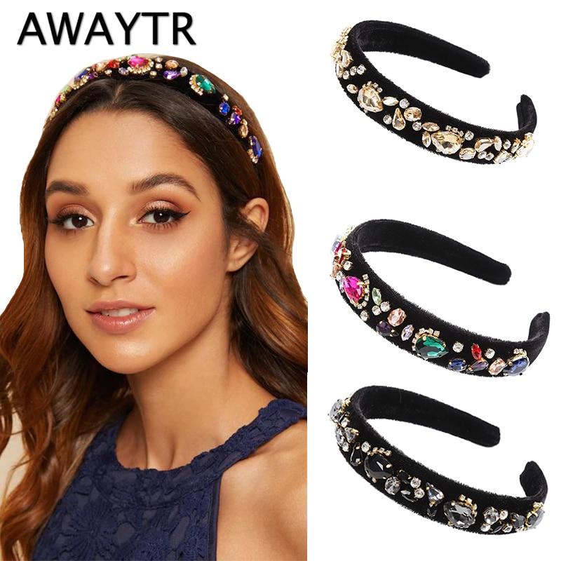 AWAYTR Baroque Gemstone Decor Headband Women Fashion Rich Velvet Hair Accessories Retro Royal Court Ladies Headwear