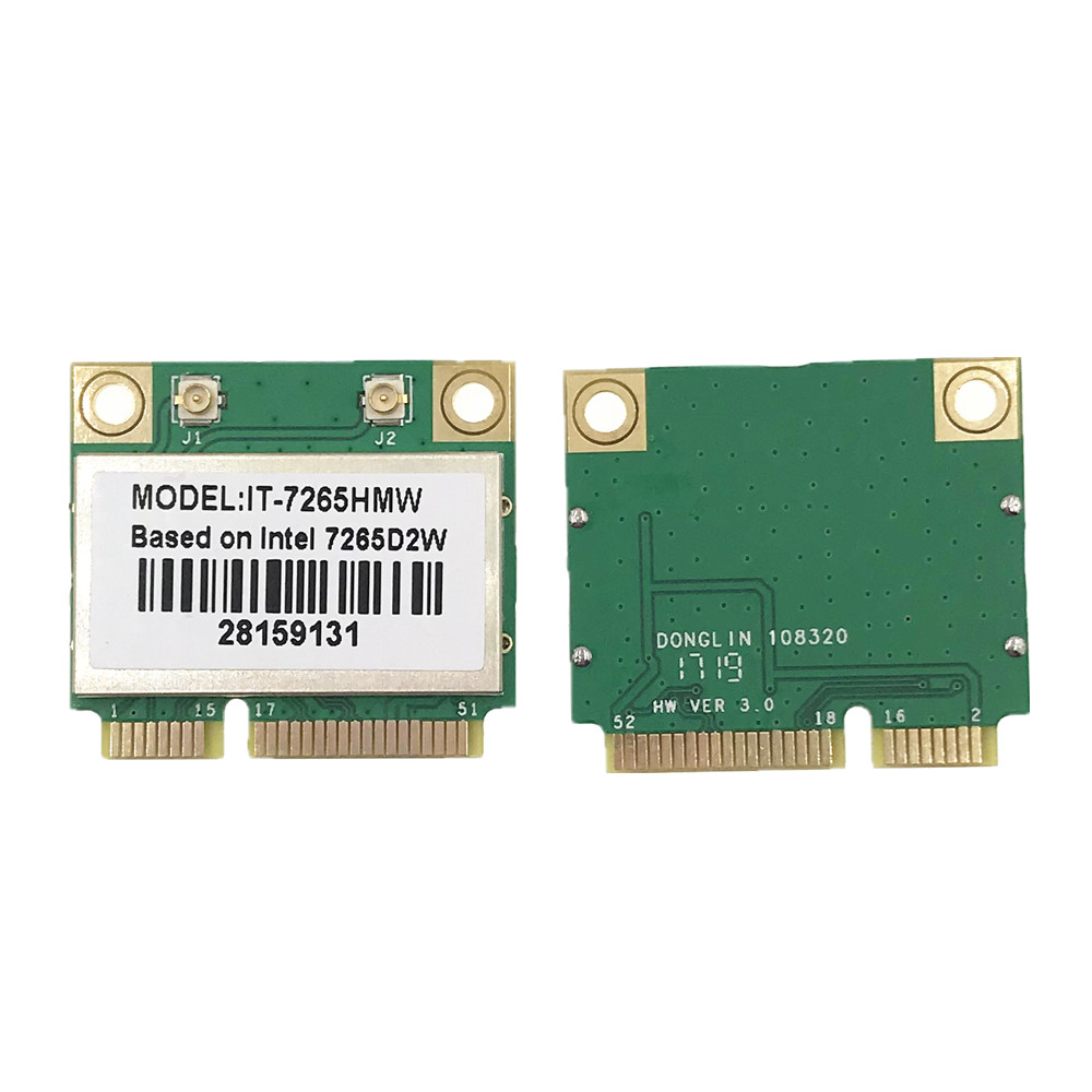 For Intel 7265 IT-7265HMW 7265D2W 802.11ac 300Mbps Dual Band MINI PCI-E WiFi Bluetooth 4.0 Card For Win 7/8/10
