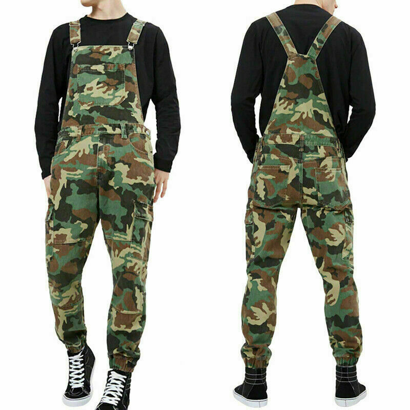 Men's Distressed Denim Bib Pants Overalls Men Camouflage Workwear Jumpsuit MOTO Motorcycle Riding Suspender Trousers 2019 New
