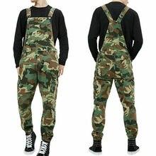 Men's Distressed Denim Bib Pants Overalls Men Camouflage Workwear Jumpsuit MOTO Motorcycle Riding suspender trousers 2019 New