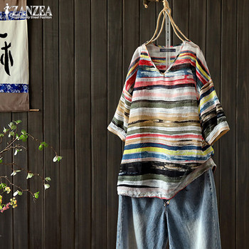Plus Size Tunic Kaftan Women's Striped Blouse 2020 ZANZEA Vintage Summer Tops Casual V Neck Blusas Female Short Sleeve Tee Shirt cutout neck bell sleeve striped tee