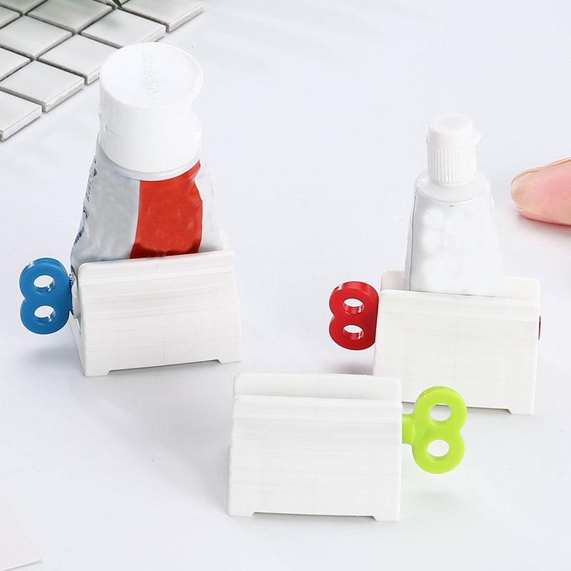 1pc White Bathroom Squeezer Plastic Squeeze Toothpaste Dispenser Tooth Paste Rolling Tube Squeezer Bathroom Products