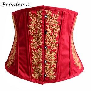 Image 5 - Beonlema 女性アンダーバストコルセットスチームパンクセクシーなコルセット黒ゴシックウエスト痩身女性赤コルセット S 2XL