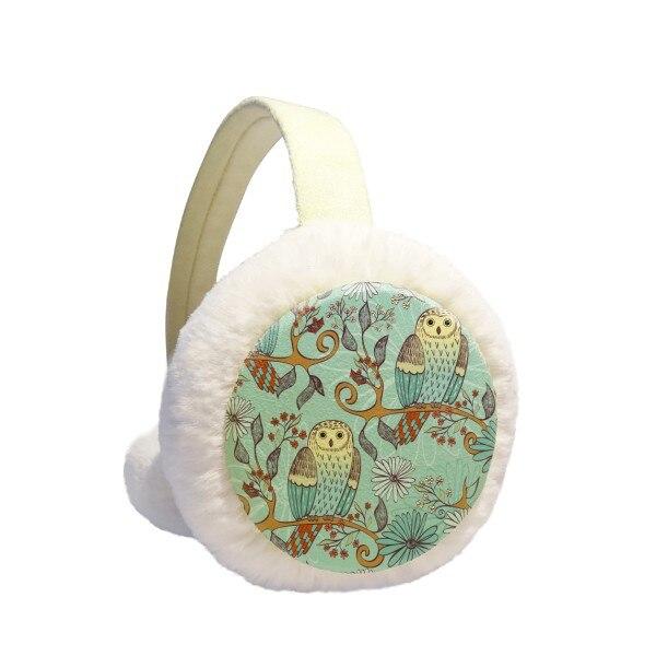 Blue Flower Owl Protect Animal Pet Lover Winter Earmuffs Ear Warmers Faux Fur Foldable Plush Outdoor Gift