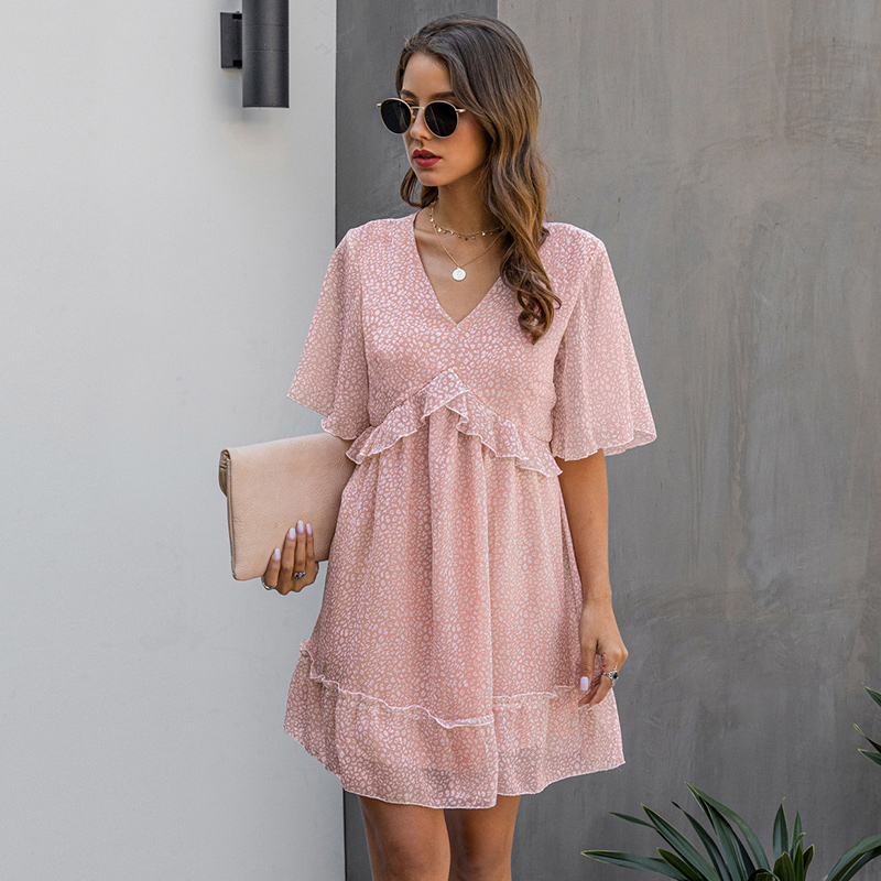 2020 New Summer V Neck Ruffles Print Dress Women Casual Butterfly Sleeve Fashion Half Sleeve Dress