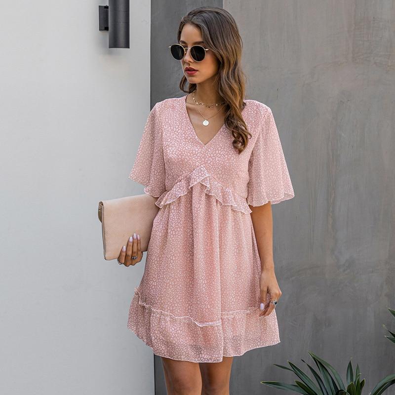 2020 New Summer V Neck Ruffles Print Dress Women Casual Butterfly Sleeve Fashion Half Sleeve Dress