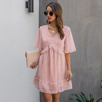 2020 New Summer V Neck Ruffles Print Dress Women Casual Butterfly Sleeve Fashion Half Sleeve Dress butterfly print v neck asymmetric slip top