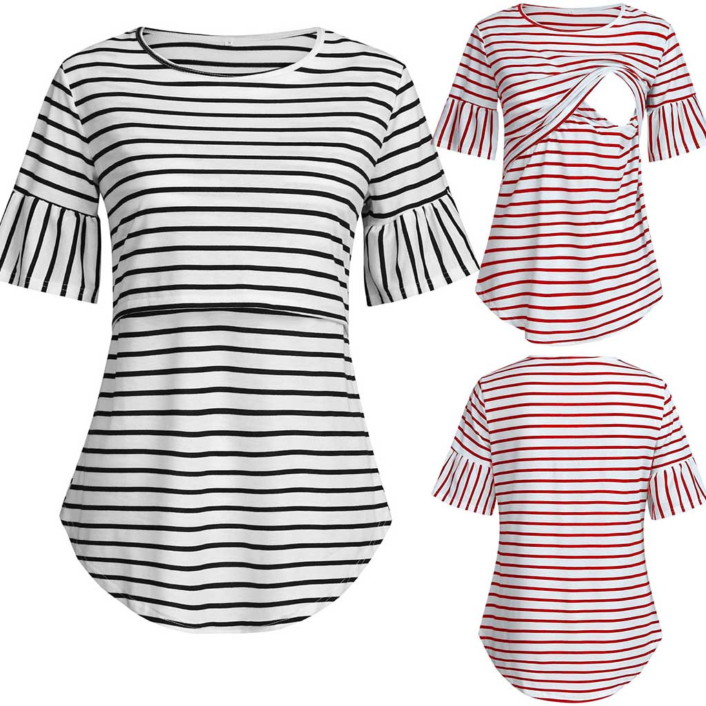 Maternity Clothes Women's Short Sleeve Nursing Striped Tops For Breastfeeding Blouse Shirts Shirt Pregnancy Clothes HOOLER