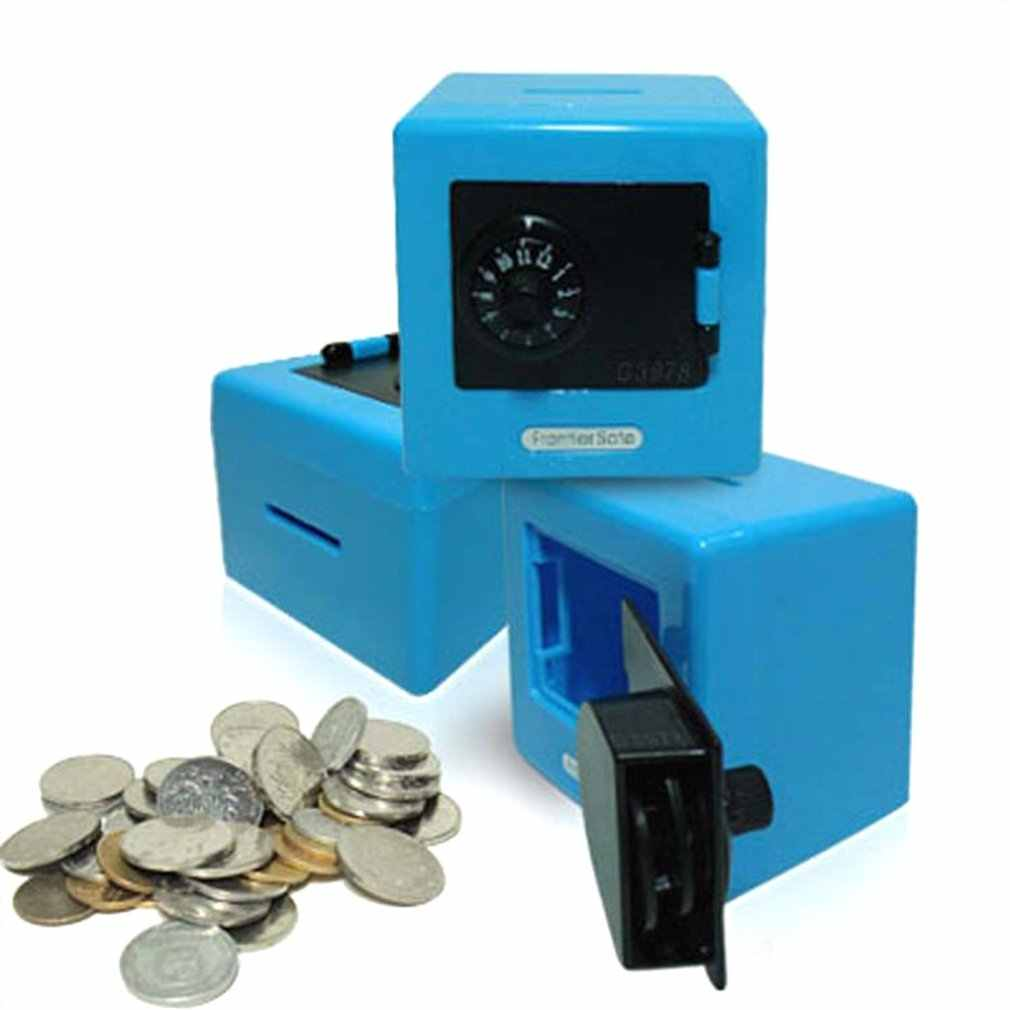 Conveniente caixa de depósito de dinheiro moeda economia caixa de armazenamento código moedas caixa de dinheiro seguro mealheiro para crianças