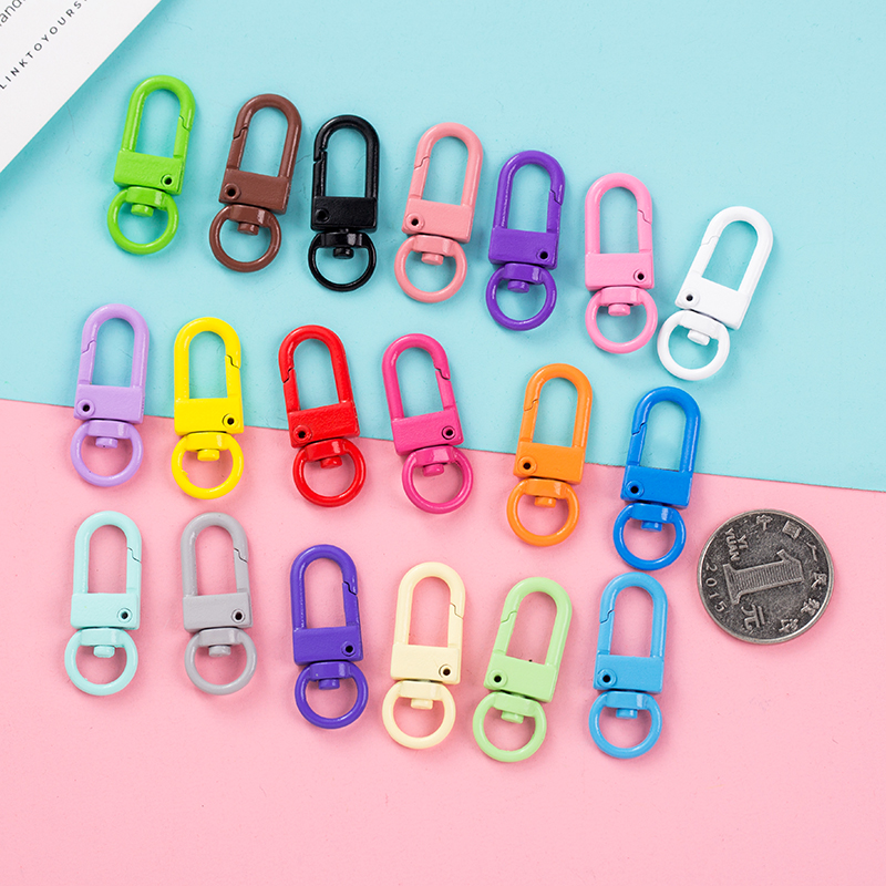 Cute Candy Color Keychain Ring Metal Lobster Clasp Clip Bag Car Keychain DIY Charms for Jewelry Making Accessories Pandent