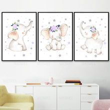 Cute Baby Elephant Cartoon Decoration Painting Unicorn Rainbow Living Room Decoration Painting Wall Art Poster Children's Room(China)
