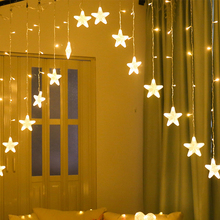 2.5M 120LED EU Plug Star curtain lights Christmas Garland String Fairy Light Outdoor For holiday Wedding Party New Year Decor holiday lights huge meteor five pointed star led light string 23cm eu plug xmas christmas wedding valentine day fairy decor cf
