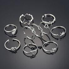 Модные серебряные Регулируемые кольца в стиле панк геометрический