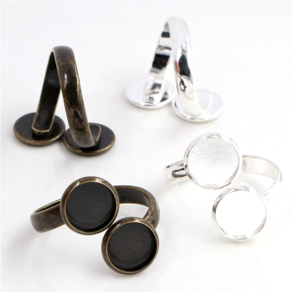 10mm 3pcs Bright Silver Bronze Plated Brass Adjustable Ring Settings Blank/Base,Fit 10mm Glass Cabochons,Buttons;Ring Bezels